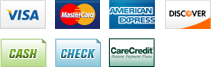 We accept Visa, MasterCard, American Express, Discover, Cash, Check and CareCredit
