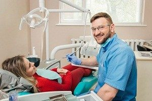 Woman having a checkup at the dentist